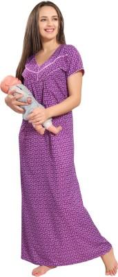471a7ec415ae7 33% OFF on Piu Women Maternity/Nursing Nighty(Purple) on Flipkart ...
