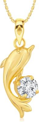 VK Jewels Dolphin Diamond Studded 18K Yellow Gold Cubic Zirconia Alloy, Brass Pendant