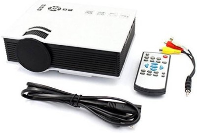 PLAY Portable LED Mini Projector HD 1080P Home Media Video Movie Home Cinema Projector 1800 lm LED Corded & Cordless Portable Projector(White) at flipkart