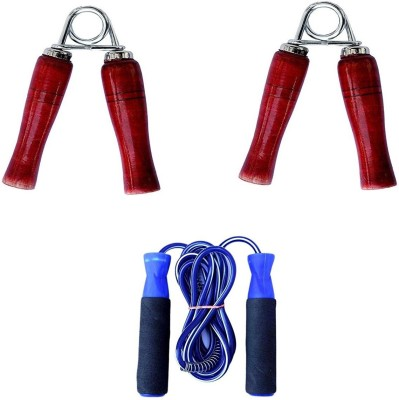 Woody PRO Blue Skipping Rope &1 PAIR WOODEN HAND GRIP COMBO Home Gym Freestyle Skipping Rope(Blue, Pack of 1)  available at flipkart for Rs.149