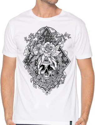 Dorje Abstract Men Round Neck White T-Shirt