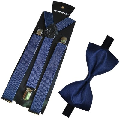 Qtsy Navy Blue Suspender And Bow Solid Men Tie(Pack of 2) Flipkart