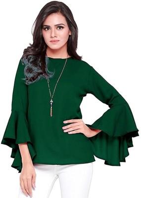 5caf77f586b63 69% OFF on VAANYA Casual Bell Sleeve Solid Women s Dark Green Top on  Flipkart