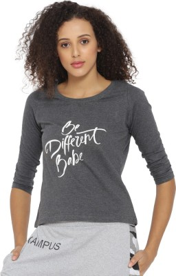 Campus Sutra Casual 3/4th Sleeve Printed Women's Grey Top
