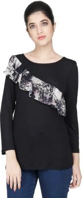 MissGudi Casual 3/4 Sleeve Printed Women Black Top