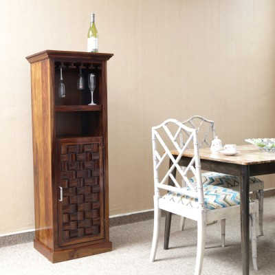 Home Edge Weave Sheesham Solid Wood Bar Cabinet(Finish Color - Teak Finish)