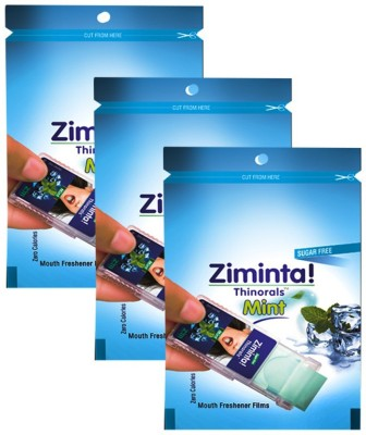 ziminta Mouth Freshener Orally Disintegrating Strips ( Sugar Free ) - 30 Strips (Mint Flavour) - Pack Of 3 Strip(5 g)