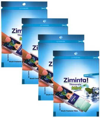 Ziminta Mouth Freshener Orally Disintegrating Strips ( Sugar Free ) - 30 Strips (Mint Flavour) - Pack Of 4 Strip(10 g)