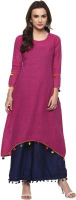 Mokshi Women Striped Straight Kurta(Yellow)