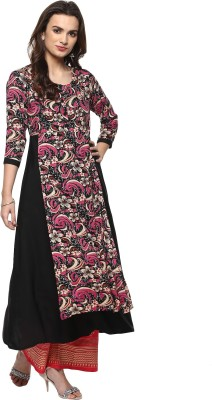 IVES Women Floral Print Straight Kurta(Black)