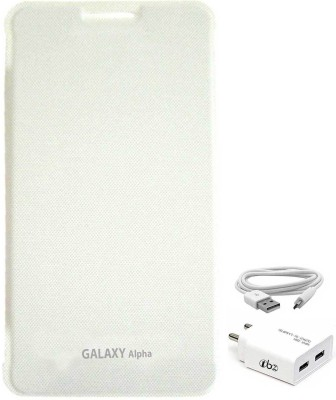 TBZ Cover Accessory Combo for Samsung Galaxy Alpha with Wall Charger White