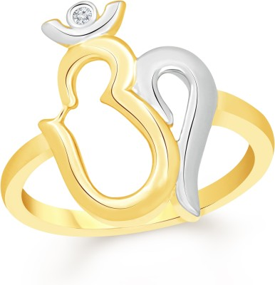 VK Jewels Divine Om with Trishul Alloy Cubic Zirconia 18K Yellow Gold Plated Ring