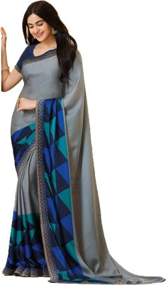 Bombey Velvat Fab Printed, Paisley Daily Wear Georgette, Chiffon Saree(Black)