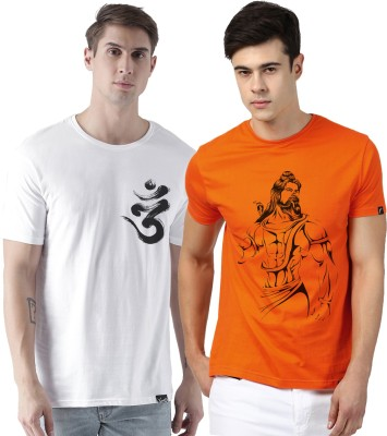 Young Trendz Graphic Print Men Round or Crew Multicolor T-Shirt(Pack of 2)