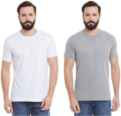 Kiwistar Solid Men Round Neck White, Grey T-Shirt(Pack of 2)