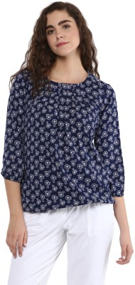 TAARUUSH Casual 3/4 Sleeve Embroidered Women White, Blue Top