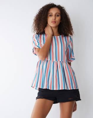 Provogue Casual Half Sleeve Striped Women's Multicolor Top