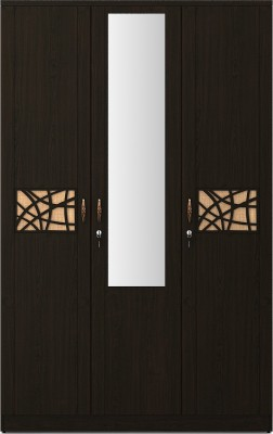 Spacewood Engineered Wood 3 Door Wardrobe(Finish Color - Natural Wenge, Mirror Included)