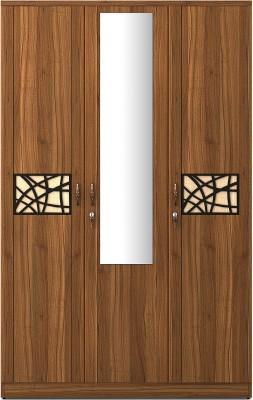 Spacewood Engineered Wood 3 Door Wardrobe(Finish Color - Natural Teak, Mirror Included)