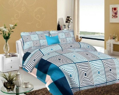 Prajo 144 TC Polycotton Double Checkered Bedsheet(Pack of 1, Blue)