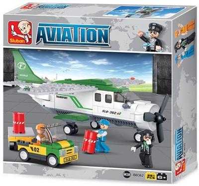 Sluban Mini Transport Plane Goods Delivery Aircraft Aviation Building Blocks Multicolor Sluban Blocks   Building Sets