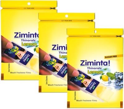 Ziminta Mouth Freshener Orally Disintegrating Strips ( Sugar Free ) - 30 Strips (Lemon Flavour) - Pack Of 3 Strip(30 g)