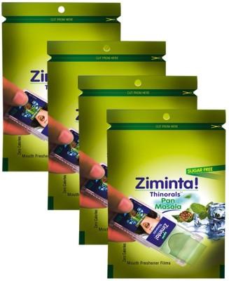 Ziminta Mouth Freshener Orally Disintegrating Strips ( Sugar Free ) - 30 Strips (Pan Masala Flavour) - Pack Of 4 Strip(30 g)