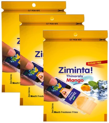 Ziminta Mouth Freshener Orally Disintegrating Strips ( Sugar Free ) - 30 Strips (Mango Flavour) - Pack Of 3 Strip(30 g)