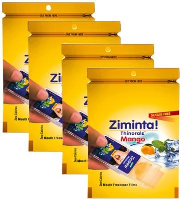 Ziminta Mouth Freshener Orally Disintegrating Strips ( Sugar Free ) - 30 Strips (Mango Flavour) - Pack Of 4 Strip(30 g)