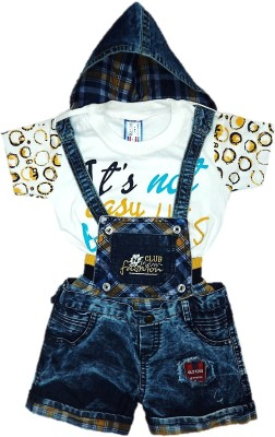 Oly Kids Dungaree For Boys & Girls Party Printed, Self Design Cotton, Denim(Blue, Pack of 1)