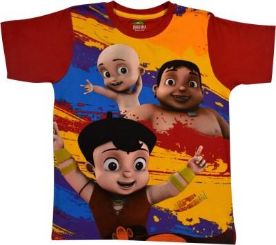 SUPER BHEEM Boys Printed Cotton T Shirt(Red, Pack of 1) Flipkart