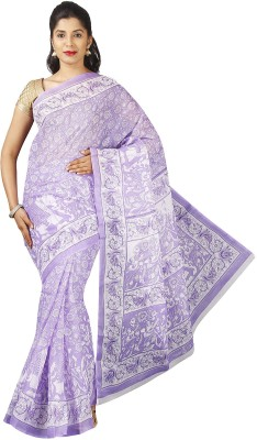 Pavechas Graphic Print Mangalagiri Polycotton Saree(Purple)