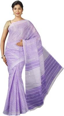 Pavechas Printed Mangalagiri Polycotton Saree(Purple)