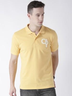 Club York Solid Men Polo Neck Yellow T-Shirt