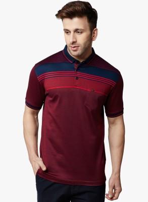 Crimsoune Club Striped Men Polo Neck Maroon, Blue T-Shirt