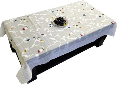 LooMantha Self Design 4 Seater Table Cover(White, Cotton) at flipkart