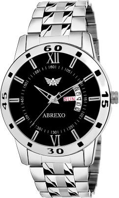 Abrexo ABX-4119SLVBLK RD Day And Date Series Analog Watch For Men