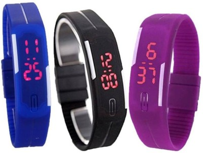 Fashion Gateway N-105 Led Magnet Band (pack of 3) Blue, Black, Purple Watch  - For Boys & Girls