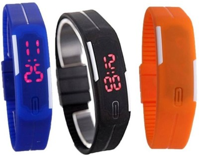Fashion Gateway N-104 Led Magnet Band (pakc of 3) Blue, Black, Orange Watch  - For Boys & Girls