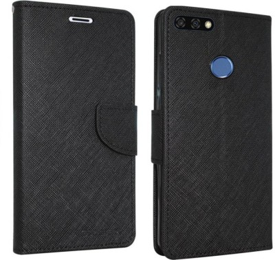 Spicesun Flip Cover for Honor 7A(Black, Artificial Leather)