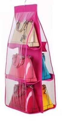 Desi soch 6 Pocket Large Clear Purse Handbag Hanging Storage Organizer Tidy Closet Wardrobe Rack Hangers Holder For Fashion Handbag Purse Pouch (pink) Regular Organizer( )