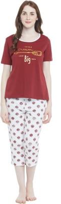 Dreamz by Pantaloons Women Printed Red Top & Capri Set