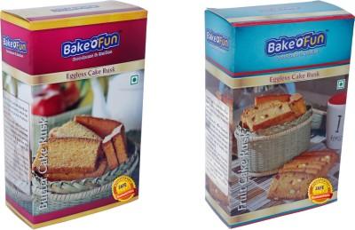 Bakeofun Combo Of Butter And Fruit Cake Rusk Butter, Fruit flavored Buttermilk Rusk(400 g, Pack of 2)