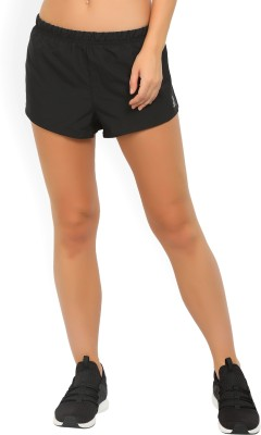 REEBOK Solid Women Black Running Shorts at flipkart