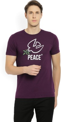 French Connection Printed Men's Round Neck Purple T-Shirt
