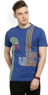 French Connection Printed Men Round Neck Blue T-Shirt at flipkart