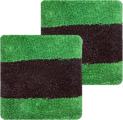 GymWar Wristband Wrist and sports band made with pure cotton Fitness Band Green, Black, Pack of 2 GymWar Fitness Bands