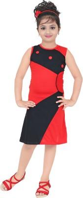 AD & AV Girls Midi/Knee Length Casual Dress(Blue, Half Sleeve)
