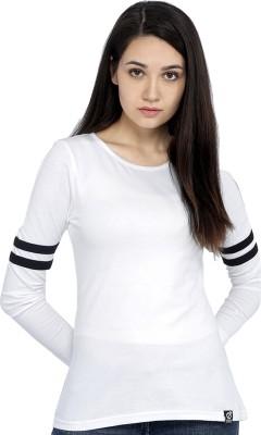 RODID Solid Women Round Neck White T Shirt RODID Women's T shirts