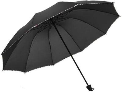 KEKEMI 3 Folds Plain Umbrella(Black)